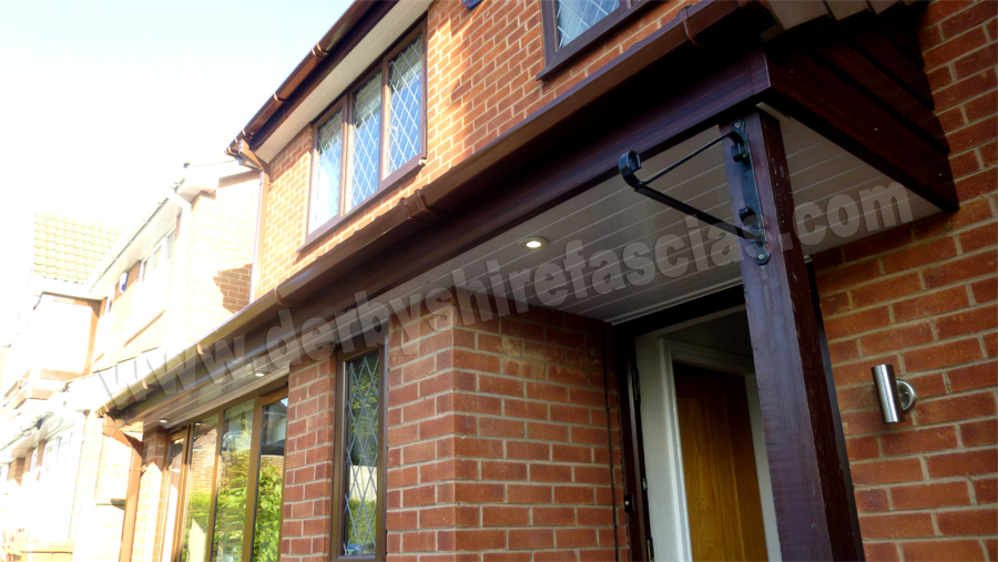 Rosewood Fascias and white soffits by Derbyshire Fascias